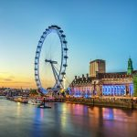 The London Eye on the South Bank of the River Thames in London