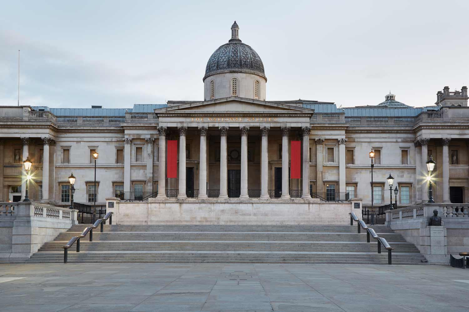 The National Gallery building in the early morning in London