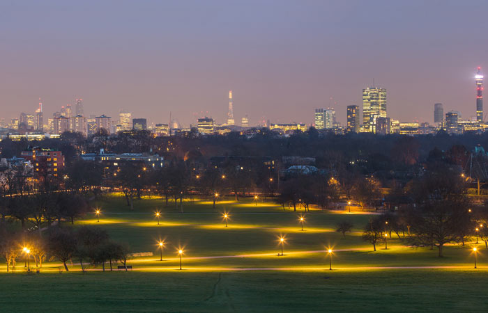 Panoramic view of London from Primrose Hill