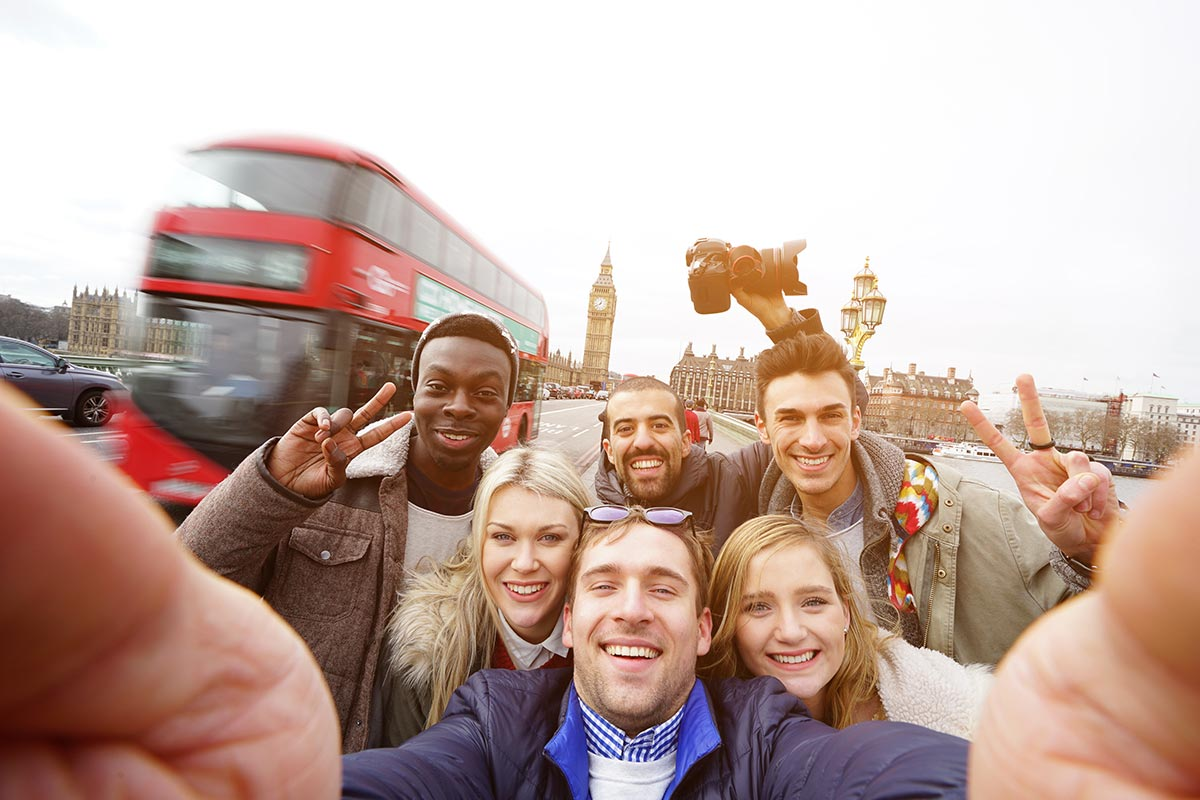selfie with london background