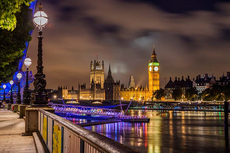View from South Bank Night London