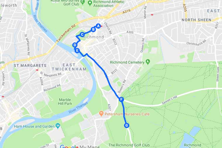 Richmond Park Tour London Itinerary Map